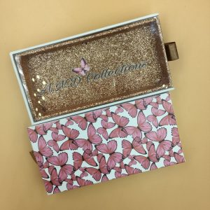 Butterfly Custom Eyelash Packaging With Rose Gold Glitter